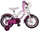 L&E 12 Zoll Fahrrad Rücktritt Stützräder Korb Kinderfahrrad Mädchen Kinderrad Pink