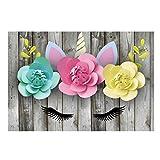 Ancjiape Fotohintergrund, Motiv: Einhorn, für Babyfotos, Geburtstagsparty, rosa Blumen, 90 x 150 cm 11305484