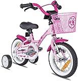 Prometheus Mädchenfahrrad 12 Zoll mit Stützräder Kinderfahrrad ab 3 Jahre Mädchen Rücktritt 12zoll Modell 2021 in Rosa Weiss