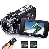 VideoKamera 1080p 30FPS 36MP digital 16X Zoom Camcorder mit IR Nachtsicht, 3 Zoll 270° Drehbar Handycam, FHD YouTube Vlog Kamera Tragbare mit...