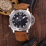 DFGHU Luxusmarke Herren Automatik Mechanische Saphir Edelstahl Uhr Silber Schwarz Braun Lederarmband Uhr Leuchtende Mechanische Uhr