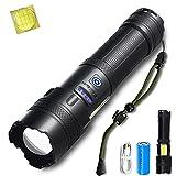 【Die neuesten P160】Helius led taschenlampe extrem hell,Super Helle 7800 Lumen Taschenlampen,usb aufladbar tactical zoombar flashlight für...