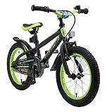 BIKESTAR Kinderfahrrad 16 Zoll für Mädchen und Jungen ab 4-5 Jahre | 16er Kinderrad Mountainbike | Fahrrad für Kinder Schwarz & Grün | Risikofrei Testen