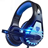 Pacrate Gaming Headset für PC, PS4, PS5, Xbox One, Xbox Series X, 3.5mm Noise Cancelling Gaming Kopfhörer mit Mikrofon, LED Leuchten und Soft Memory...