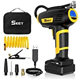 SKEY Auto Kompressor, 12V Elektrische Luftpump, 45 L/ Min Luftkompressor mit wiederaufladbarer 2200 mAh Batterie, ± 0,5genaue Druckregelung, 1,75 m...