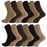 12 Paar Damen & Herren Socken ohne Gummidruck 100% Baumwolle (43-46, Beige/Braun)