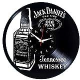 EVEVO Jack Daniel'S Old Wanduhr Vinyl Schallplatte Retro-Uhr groß Uhren Style Raum Home Dekorationen Tolles Geschenk Wanduhr Jack Daniel'S Old