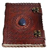 Jaald A5 Notizblock Notizen Notizbuch Seiten Handgemacht Album Tagebuch Leder mit Lederbezug Geschenke Antik Keltische Schliesse blauer Stein Kleine