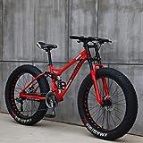 Wind Greeting 26 Zoll Mountainbike,21 Gang-Schaltung Erwachsene Fette Reifen Fahrrad,Rahmen aus Kohlenstoffstahl,Vollfederung Scheibenbremsen Hardtail Bike...