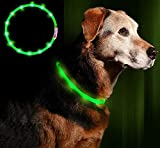 LED Leuchthalsband Hunde Halsband - Anicoll grün USB wiederaufladbar - Längenverstellbarer Haustier Sicherheit Kragen für Hunde und Katzen- 3 Modus 12 Lichte