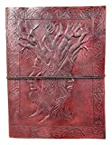 Kooly Zen Notizblock, Tagebuch, Buch, echtes Leder, Vintage, Baum des Lebens, Fruchtbarkeit, 15 cm x 20 cm, Premiumpapier
