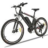 Elektrofahrrad für Herren und Damen 26' Ebike Mountainbike mit Abnehmbare 36V 12.5Ah Batterie und Shimano 21-Gang/Höchstgeschwindigkeit 28km/h (Schwarz Rot A)