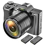 4K Digitalkamera Videokamera Camcorder Ultra HD 48MP WiFi YouTube Vlogging Kamera mit Weitwinkelobjektiv 3,5-Zoll-IPS Touchscreen Kamerarecorder 16-facher...