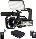 Camcorder 4k Video Kamera, ORDRO Videokamera HD 1080P 60FPS Vlog Kamera IR Nachtsicht WiFi Camcorder mit Mikrofon, LED Licht, Weitwinkelobjektiv, Halter,...