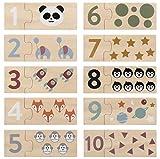 Kindsgut Lernspiel Zahlen aus Holz, spielerisch bis 10 Zählen mit dem Kinder-Puzzle, Lernpuzzle mit schönen Motiven, Schlichtes Design und dezente Farben,...