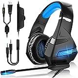 FUNINGEEK PS4 Gaming Headset für PC, Xbox One, LED Licht Crystal Clarity Sound Professioneller Kopfhörer Bass Surround mit Mikrofon für Laptop Mac Handy...