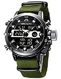 MEGALITH Herren Uhren Männer Militär Digitaluhr Sport Chronograph LED Wasserdicht Großes Braun Leder Armbanduhren Mann Multifunktions Digital Analog Wecker...