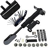 DAWAY Fahrrad Reparatur Werkzeug Set - A35 Fahrrad Werkzeugtasche mit 120 PSI Mini Fahrradpumpe, Multitool, Reifenheber und Selbstklebendes Fahrrad Flicken, 6...