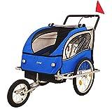DMS® Fahrradanhänger 2 in 1 Kinderanhänger Fahrrad Anhänger Jogger Radanhänger Kinderwagen Kinderfahrradanhänger für 2 Kinder 5-Punkt Sicherheitsgurt,...