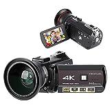 WiFi DV Camcorder, Tragbarer 4K 1080P HD 3,1' IPS Touchscreen 30x Zoom Digitalvideokamera mit externer Weitwinkelobjektiv Unterstützung APP Fernbedienung/IR...