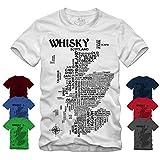 Whisky Map - Schwarz T-Shirt Scotch Islay Whiskey Single Malt Landkarte (M, Grau)