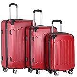 Vojagor® Koffer Trolley Set - 3 teilig groß mittelgroß klein, ABS Kunststoff, 4 Rollen, Hartschale, TSA-Schloss, Farbwahl - Hartschalenkoffer, Reisekoffer,...