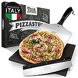 Pizza Divertimento - Pizzastein für Backofen und Gasgrill –Mit Pizzaschieber & Pizzaschneider – Cordierit Pizza Stein – Pizza Stone knuspriger Boden