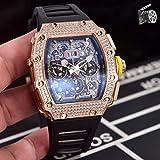 ZYYDTY Automatikuhr Luxusmarke Schwarz Roter Gummi Herrenuhr Saphir Automatik Mechanisch Rotgold Volleisige Diamanten Tourbillion Kalender Schwarz