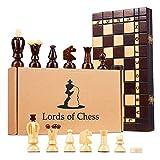 Amazinggirl Schachspiel Schach Holz Schachbrett - 2 in 1 Dame Chess Set Reise für Kinder hochwertig klappbar mit Figuren 31 cm