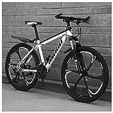 NENGGE 26 Zoll Mountainbike, Scheibenbremsen Hardtail MTB, Trekkingrad Herren Bike Mädchen-Fahrrad, Vollfederung Mountain Bike,21 Speed,White 6 Spoke