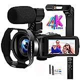 Videokamera Camcorder 4K Ultra HD 48MP IR Nachtsicht Vlogging Kamera 18X Digitalzoom Camcorder mit Mikrofon, WiFi, Handstabilisator, Gegenlichtblende und 3,0...