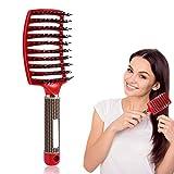 Haarbürsten Kamm, Salon Kopfhautmassage Haarbürste Borsten 0026 Nylon Friseur Styling-Tools(rot)