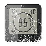 FORNORM Shower Clock Dusche Uhr Wasserdicht, Badezimmer Uhr Digital mit Saugnapf LCD Display Luftfeuchtigkeit Temperatur Wanduhren, AM/PM oder 24 Stunden...