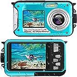 Unterwasserkamera Full HD 2.7K 48MP 10FT Kamera Wasserdicht Dual Screen 16X Digital Zoom Schnorcheln wasserdichte Digitalkamera für Selbstauslöser...