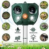 Katzenschreck Ultraschall Solar, Wasserdichte Utraschall Tiervertreiber mit Batteriebetrieben und Blitz 5 Modus Einstellbar Ultraschall Abwehr Tierabwehr für...