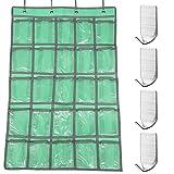 Afunta, 4 Stück selbstklebende Haken, Wand-Organizer für Unterwäsche mit Handy-Socke, mit 4 Taschen, mit Edelstahl-Haken zum Aufhängen für Küche...