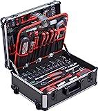 Meister Werkzeugtrolley 156-teilig - Werkzeug-Set - Mit Rollen - Teleskophandgriff / Profi Werkzeugkoffer befüllt / Werkzeugkiste fahrbar auf Rollen /...