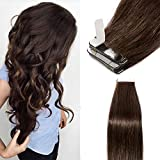 TESS Tape Extensions Echthaar Dunkelbraun Klebeband Haarverlängerung 18 Inch 20pcs Glatt Remy Tape in Hair Extensions (#2 45cm-50g)