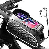 Evaduol Fahrradtasche Rahmen Wasserdicht, Rahmentasche Fahrrad Ideal für Navigation, Handyhalterung Fahrrad mit TPU-Touchscreen 6.5 Zoll und Kopfhörerloch,...