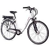 CHRISSON 28 Zoll E-Bike Trekking und City Bike für Damen - E-Lady weiß mit 7 Gang Shimano Nexus Nabenschaltung - Pedelec Damen mit Ananda Vorderradmotor 250W,...
