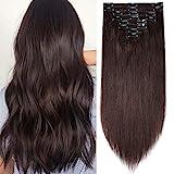 Clip in Extensions Echthaar Haarverlängerung Haarteil Doppelt 8 Teile hitzebeständig glatt Dunkelbraun#2 24'(61cm)-170g