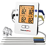 ThermoPro Bluetooth 5.0 Digital Bratenthermometer Grillthermometer Funk Fleischthermometer mit 4 Sonde für BBQ, Garraum, Smoker, Steak, Unterstützt IOS,...