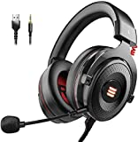 EKSA Gaming Headset PS4/XBox One, Virtual 7.1 & 3,5mm Surround Sound 2 in1 Kabelgebundenes Over-Ear Gaming Kopfhörer mit Abnehmbares Mikrofon, LED-Licht für...