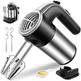 Handmixer Edelstahl 400W Elektrischer Hand-Schneebesen 6 in 1 Handmixer-Set, 5 Geschwindigkeiten, 2 Knethaken, 2 Schneebesen, 1 Eiweißfilter, 1 Sockel