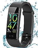 JAZIPO Fitness Armband Schrittzähler, Fitness tracker mit Herzfrequenzmesser Blutdruckmessung Pulsuhr Kalorienzähler GPS, IP68 wasserdichter Smartwatch...