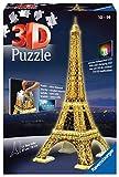 Ravensburger 12579 3D Puzzle Eiffelturm bei Nacht mit 216 Teilen, für Kinder und Erwachsene, Wahrzeichen von Paris im Miniatur-Format, Leuchtet im Dunkeln