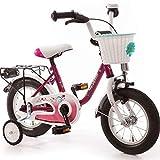 DREAM Kinderfahrrad 12 Zoll Fahrrad für Kinder ab 3 Jahre Mädchen Fahrräder Kinderrad Mädchenfahrrad Rad Pink Weiss Lila Rücktrittbremse Stützräder