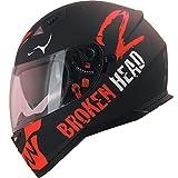 Broken Head Adrenalin Therapy VX2 - Motorrad-Helm Mit Sonnenblende - Schwarz-Rot Matt (Ltd.) - Größe M (56-57 cm)