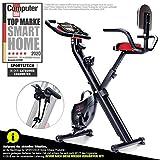Sportstech X100-B - Bike 4in1 Heimtrainer - einzigartiges Zugbandsystem Handpulssensoren Ergometer Hometrainer- Faltbares Fitness Fahrrad-Tablethalterung...