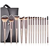 BESTOPE Make Up Pinsel Set mit Leder Tasche Pinselset Kosmetik 14 Stück Professionelles Kosmetikpinsel Schminkpinsel Kabuki Foundation Beauty Tools (Champaign...